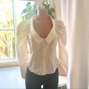 All saints White cotton puff sleeve blouse